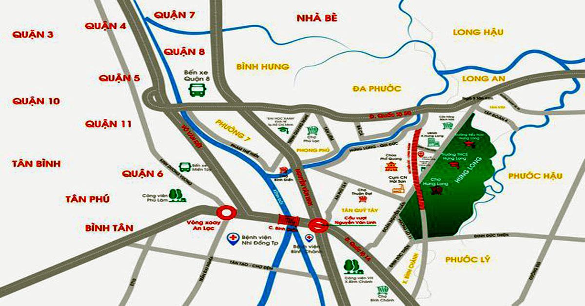 Sơ đồ kết nối giao thông huyện Bình Chánh